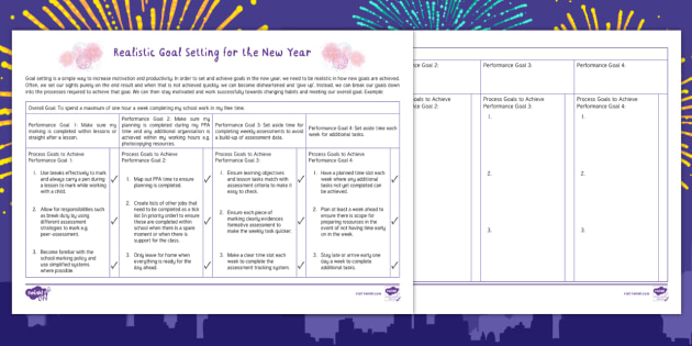 Realistic Goal Setting for the New Year Worksheet - New Year ...