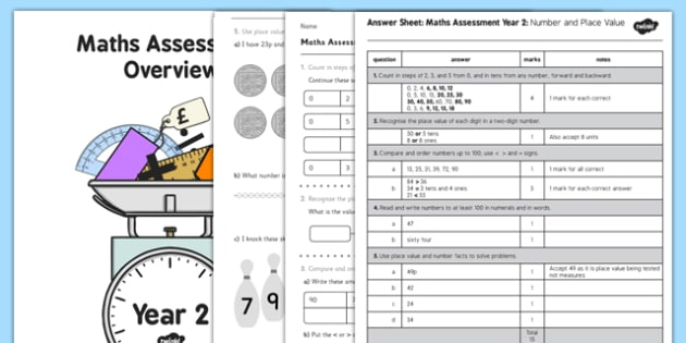 Year 2 Maths Assessment Number and Place Value Term 1 - assessments, year 2, maths, number, place value, term 1