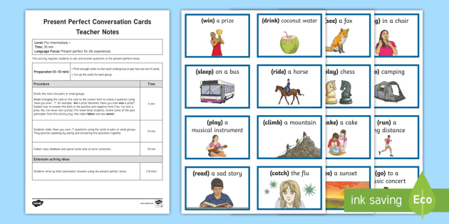 ESL Present Perfect Speaking Game with Teacher Notes