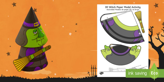 Simple Halloween 3D Witch Paper Craft English Spanish