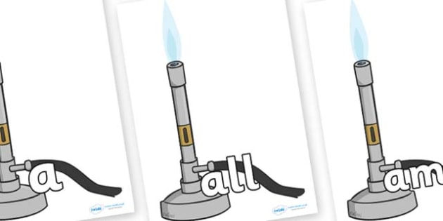 Foundation Stage 2 Keywords on Bunsen Burners - FS2, CLL, keywords, Communication language and literacy,  Display, Key words, high frequency words, foundation stage literacy, DfES Letters and Sounds, Letters and Sounds, spelling