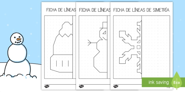 Ficha: Líneas de simetría - Invierno - líneas de simetría