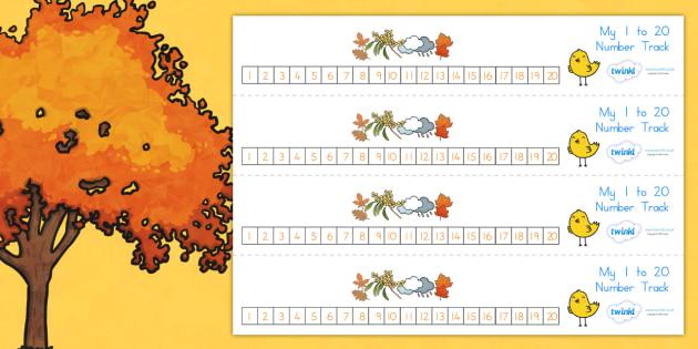 Autumn Number Track 1 20 - count, counting, counting aid, seasons