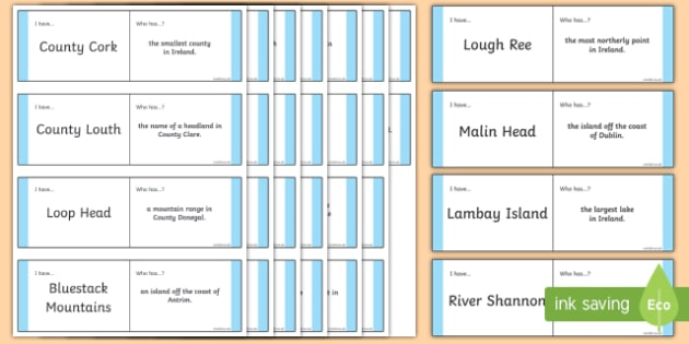 Geography of Ireland Loop Cards