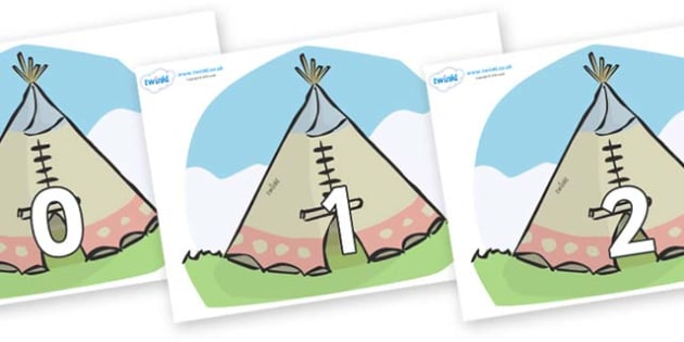 Numbers 0-31 on Tipis - 0-31, foundation stage numeracy, Number recognition, Number flashcards, counting, number frieze, Display numbers, number posters