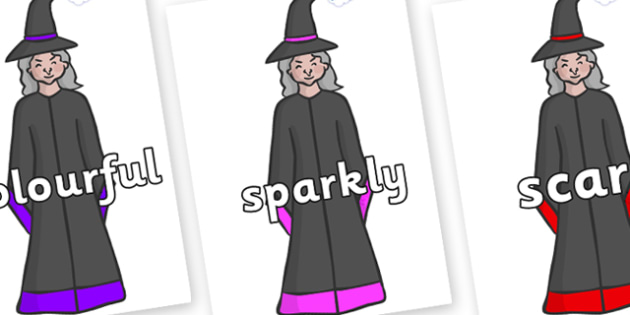 Wow Words on Witches - Wow words, adjectives, VCOP, describing, Wow, display, poster, wow display, tasty, scary, ugly, beautiful, colourful sharp, bouncy