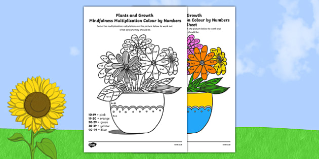 Plants and Growth Themed Mindfulness Multiplication Colour by Numbers - plants, growth, mindfulness, multiplication, colour by number