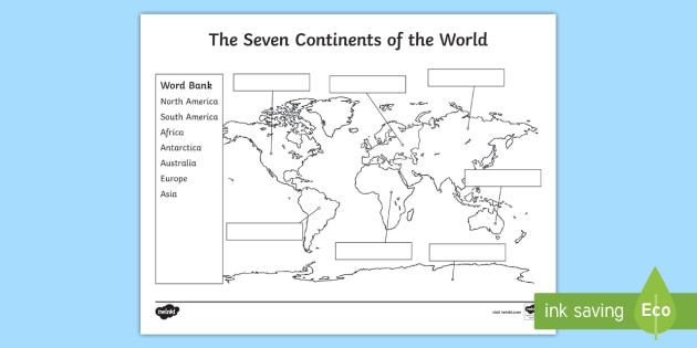 The Seven Continents Labeling Activity