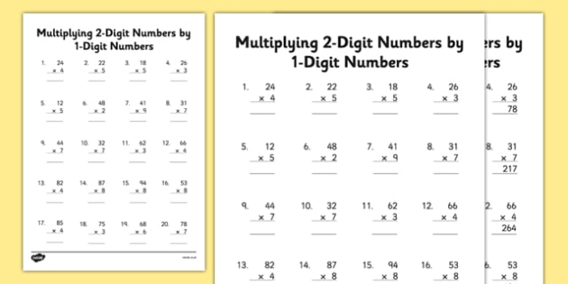 Pre k worksheets - Multiply 2 digits with 1 digit numbers - 3