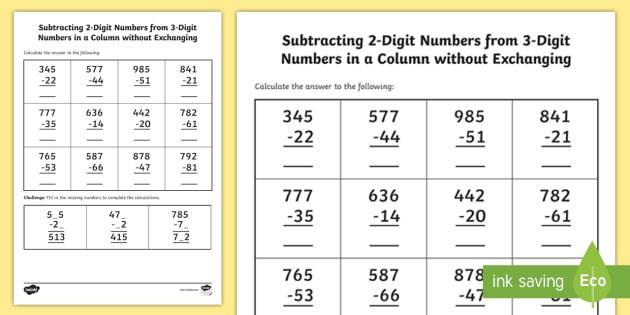 Subtracting 2-Digit Numbers From 3-Digit Numbers Worksheet