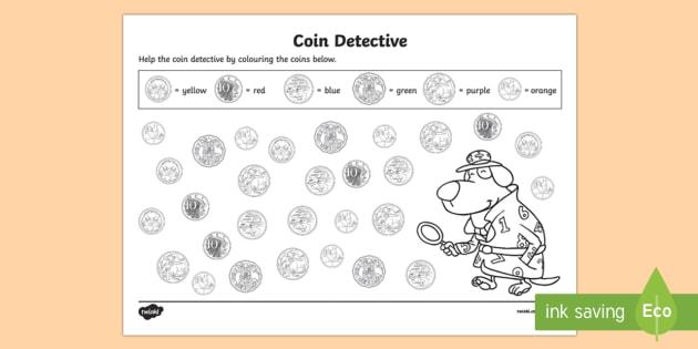 coin detectives worksheet activity sheet australian. Black Bedroom Furniture Sets. Home Design Ideas