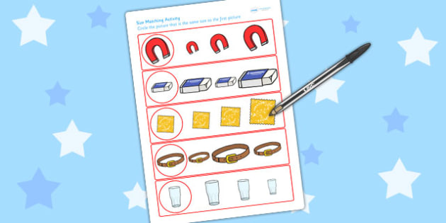 Materials Size Matching Worksheet - material, size, shape, match