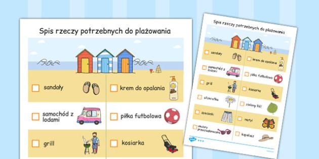 Lista rzeczy w domku na plazy po polsku - podstawowka , Polish