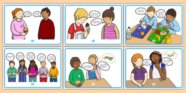 Food Conversation Display Posters Gaeilge - talking, speaking and listening, lunchtime, food, dinner,