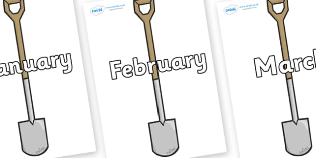 Months of the Year on Garden Spades - Months of the Year, Months poster, Months display, display, poster, frieze, Months, month, January, February, March, April, May, June, July, August, September