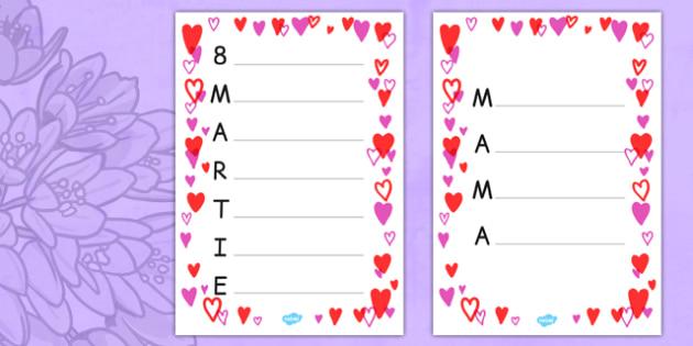 Acrostih, Mama, 8 Martie - ziua mamei, cadou, scriere