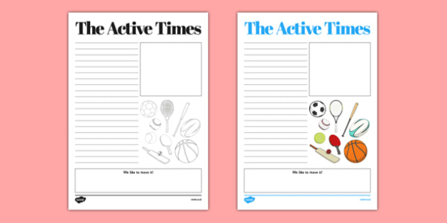 The Active Times Newspaper Template - active flag, active school, blue flag, newspaper, newsletter, committee, information