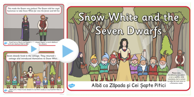 Snow White Seven Dwarves Story PowerPoint Romanian Translation