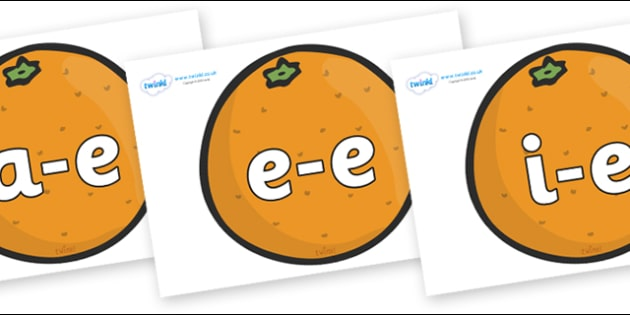 Modifying E Letters on Oranges - Modifying E, letters, modify, Phase 5, Phase five, alternative spellings for phonemes, DfES letters and Sounds