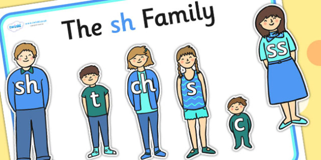 Sh Sound Family Cut Outs - sound families, sounds, cutouts, cut