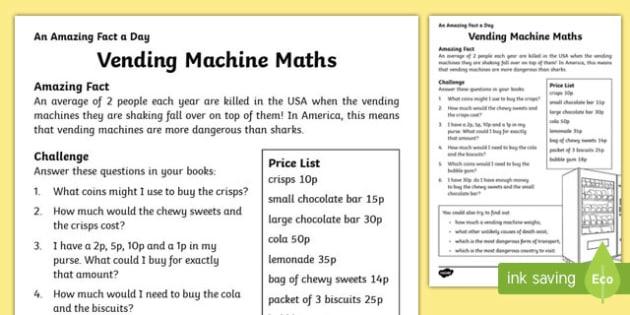 Vending Machine Maths Activity Sheet, worksheet