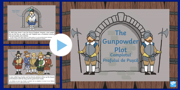 The Gunpowder Plot Information PowerPoint KS1 Romanian