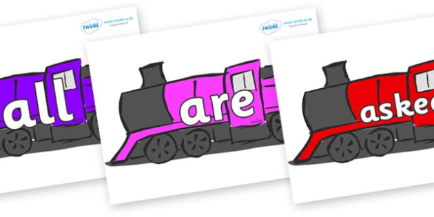 Tricky Words on Trains - Tricky words, DfES Letters and Sounds, Letters and sounds, display, words