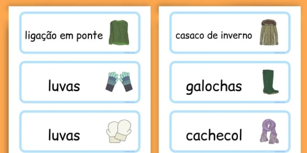 Winter Clothes Word Cards - winter clothes, word cards, winter, clothes - Portuguese