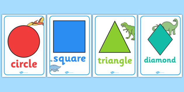 Dinosaurs Themed 2D Shape Posters - dinosaurs, 2d shape, posters, display posters, display