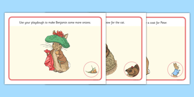 Beatrix Potter - The Tale of Benjamin Bunny Playdough Mats - beatrix potter, benjamin bunny
