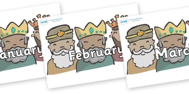 Months of the Year on Three Kings - Months of the Year, Months poster, Months display, display, poster, frieze, Months, month, January, February, March, April, May, June, July, August, September