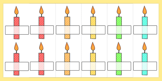 Editable Self Registration Multicoloured Candles Stripes - self registration, self-registration, editable, multicoloured candles, editable candles, self reg on candles, editable labels, editable self registration labels, labels, registration, child n