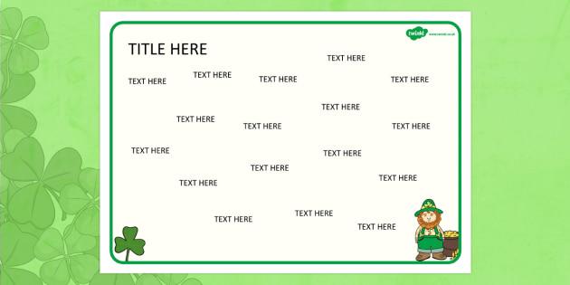 St Patricks Day Themed Editable Word Mat - literacy, writing