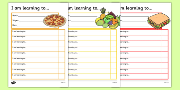 Food Themed Target and Achievement Sheets - food, target and achievement, target, achievement, sheets