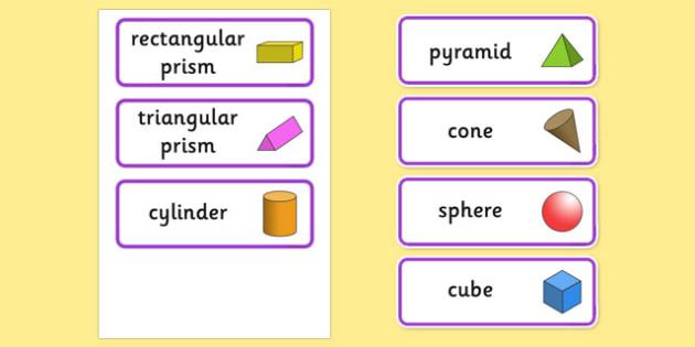 3D Shape Word Cards - 3D, 3D shapes, shapes, numeracy, maths