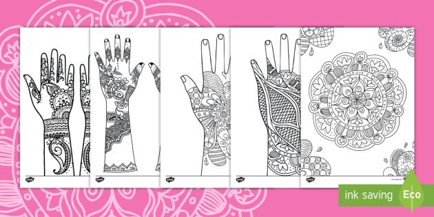 Mehndi Pattern Coloring Activity - coloring, diwali, hindi, indian, mehndi, henna, art