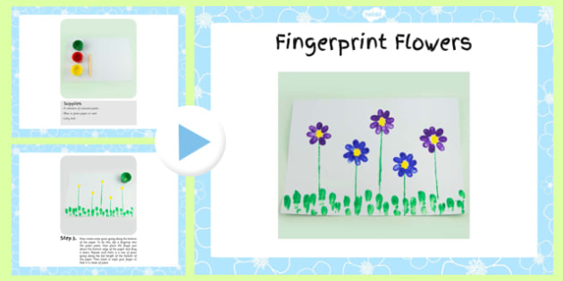 Fingerprint Flowers Craft Instructions Powerpoint - craft, powerpoint, flower