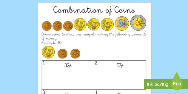 euros combination of coins worksheet worksheet english spanish money. Black Bedroom Furniture Sets. Home Design Ideas