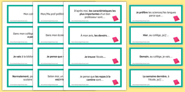 Life at School/College Prompt Cards French - Conversation, Speaking, Questions, école, Collège, Scolaire, Professeurs, Teachers, Uniform, Uniforme, Rules, Règles, Règlement, Journée, Cartes