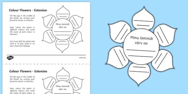 MFL Estonian Colour Flowers Worksheet / Activity Sheet, worksheet