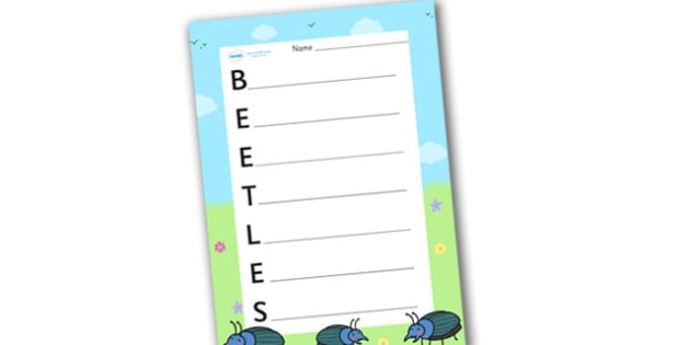 Beetles Acrostic Poem - acrostic poems, acrostic poem, beetles, beetle, beatle, beetle acrostic poem template, beetles acrostic poem writing frame, beetles poem, beetles poetry, acrostic, poem, poetry, literacy, writing activity, activity