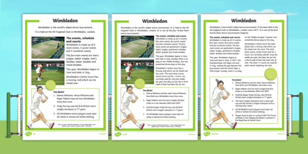 KS1 Wimbledon Differentiated Fact File