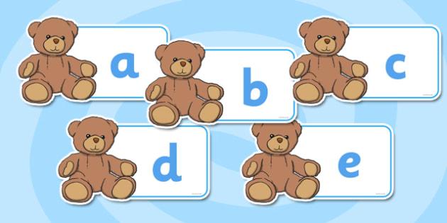 A-Z Alphabet on Teddy Bears - Teddy Bear, Teddy Bears, Alphabet frieze, Display letters, Letter posters, A-Z letters, Alphabet flashcards, car, bus, lorry, plane, racing car, train