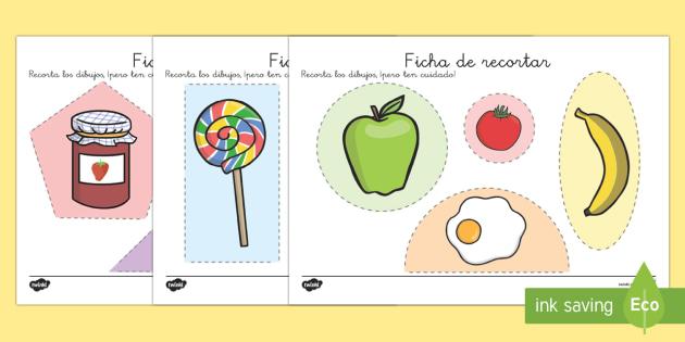 La comida Ficha de motricidad fina..recortar - punzón, punzar, tijeras, comer, saludable, sano, dieta, alimentación, motor, Spanish