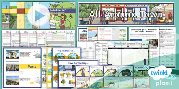 French:  All Around Town Year 4 Unit Pack