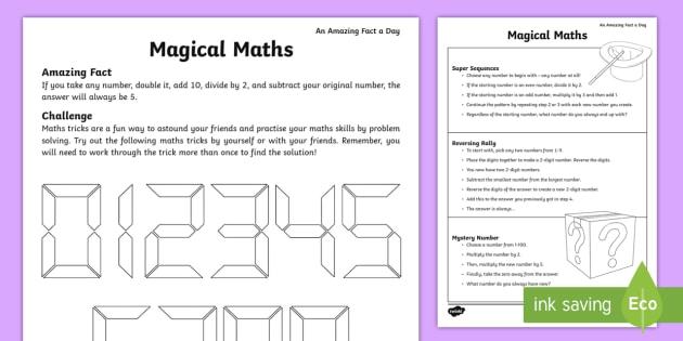 Magical Maths Worksheet / Activity Sheet - maths tricks, maths