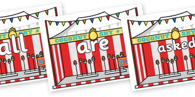 Tricky Words on Fairground Coconut Stands - Tricky words, DfES Letters and Sounds, Letters and sounds, display, words