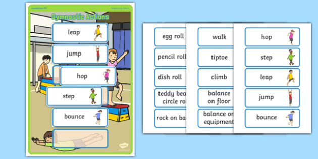 Foundation PE (Reception) - Gymnastic Action and Sequencing Board - Eyfs, physical development, movement, actions