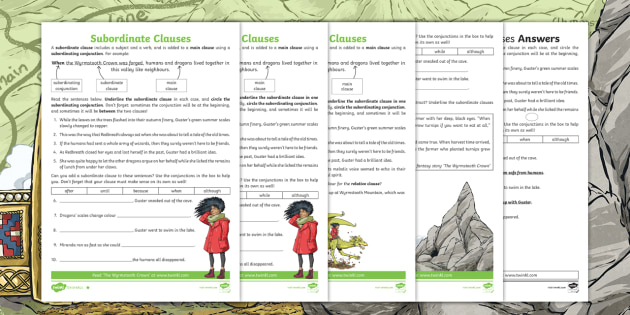 Ks2 Subordinate Clauses Differentiated Worksheet Ks2 Fantasy Story The