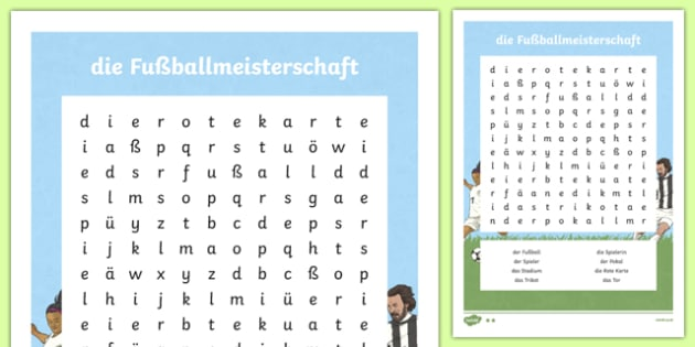 Football Topic Words German Word Search